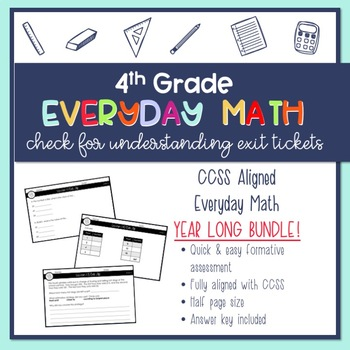 Year Long {GROWING} BUNDLE 4th Grade Everyday Math Exit Slips