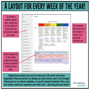 Year Long Google Doc Microsoft Word Lesson Plan Templates Tpt