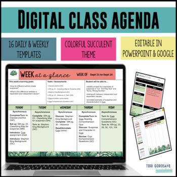 Year Long Google Slide & Microsoft PowerPoint Daily Agenda Templates