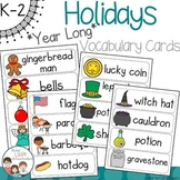Year Long Holiday Vocabulary Word Wall Cards