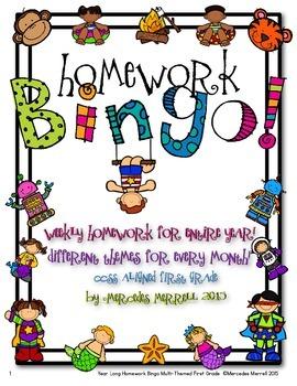 Year-Long Homework Bingo