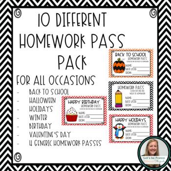 Year Long Homework Pass Pack