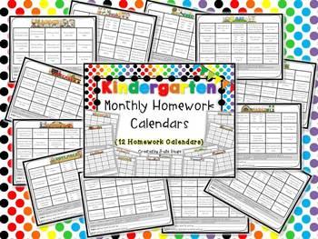 Kindergarten Monthly Homework Calendars {12 Calendars Full of Homework Fun}