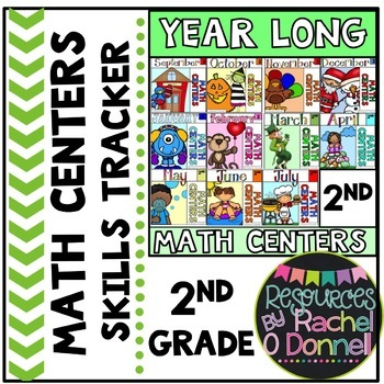 Year Long Math Centers Skill Tracker Second Grade