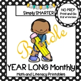 Year Long Math and Literacy Printables and Activities for First Grade Bundle