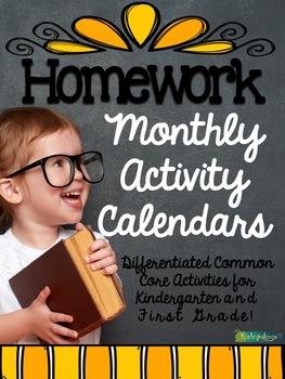 Year Long Monthly Homework Calendars