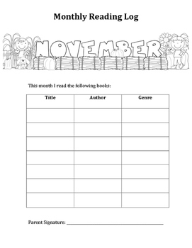Year Long Monthly Reading Logs