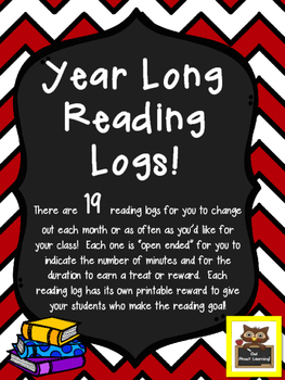 Year Long Monthly Reading Logs to Motivate Your Students to READ!