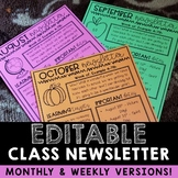 Year-Long Monthly/Weekly Editable Newsletter Templates