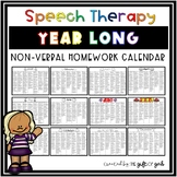 Speech Therapy Homework Yearly Calendar | Nonverbal Speech Therapy Activities