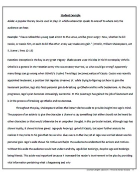 Literary Terms Project Year-Long Personal Literary Glossary AP & Honors English