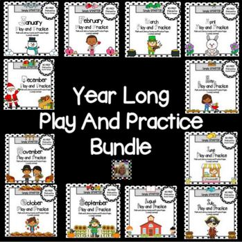 Year Long Play and Practice Bundle:  Math and Literacy Games and Worksheets