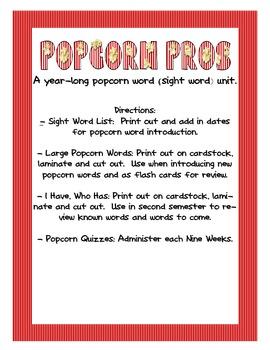 Year Long Popcorn Word Unit- Sight Words