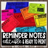Year Long Quick Reminders {Editable}