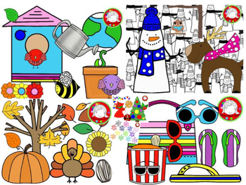Year Long Seasonal Clipart BUNDLE {200+ clips} (Personal & Commercial Use)