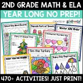 Year Long Second Grade Literacy and Math No Prep Bundle