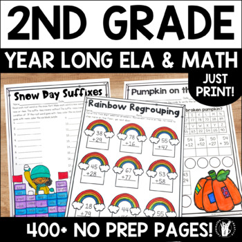 Year Long Literacy and Math: Second Grade Printable Distance Learning