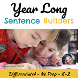 Year Long Sentence Builders Sight Words (Stations & Writing)