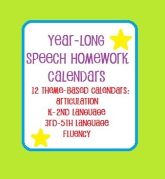 Year-Long  Speech Homework Calendar Bundle 1