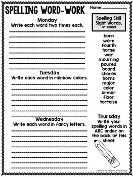 Year-Long Spelling Homework- Grades 3-4 Print and Go!