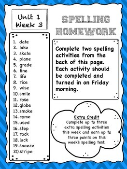 Year Long 3rd Grade Spelling Lists/Homework *McGraw-Hill Reading Wonders*