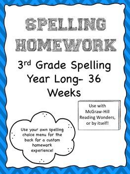 Year Long 3rd Grade Spelling Lists/Homework *McGraw-Hill R