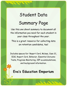 Year Long Student Data Summary Page - Great for Retention too!