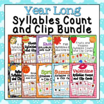 Year Long Syllables Count and Clip Cards Bundle