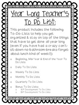 Year Long Teacher To Do List for ABA, Autism or Special Education Classroom