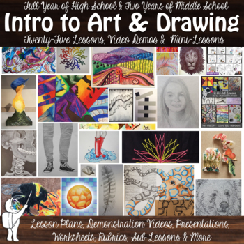 Intro to Visual Art and Drawing - Year long Visual Art Curricula - 22 Lessons