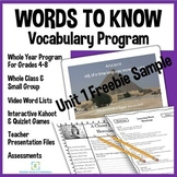 Year-Long Vocabulary Acquisition and Use Activities-Vocabulary Freebie Preview