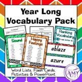Year Long Vocabulary Bundle- Word Lists, Flash Cards & Activities