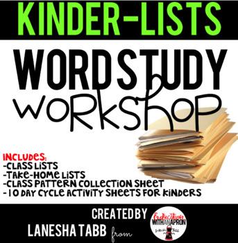 KINDERGARTEN Spelling Lists