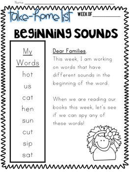 KINDERGARTEN Spelling Lists