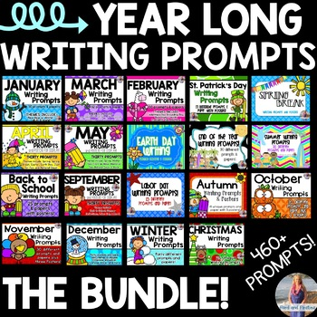 Year Long Writing Prompts & Writing Paper BUNDLE!