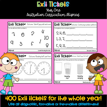 Year One / First Grade Math Exit Tickets Australian Curriculum Aligned