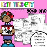 Year One / First Grade Math Exit Tickets Australian Curric