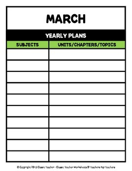 Year Plans - Yearly Plans Using Monthly Templates
