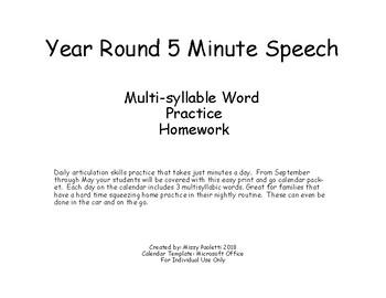 18-19 Year Round 5 Minute Speech Multi-syllable Word  Practice  Homework