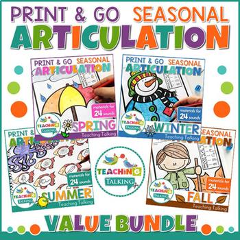 Year Round Articulation Worksheets Print & Go Bundle