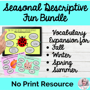 Seasonal Descriptive Language Fun Bundle NO PRINT Teletherapy Adjectives