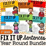 Year Round Editing Sentences Bundle: First Grade, Capitalization, Punctuation