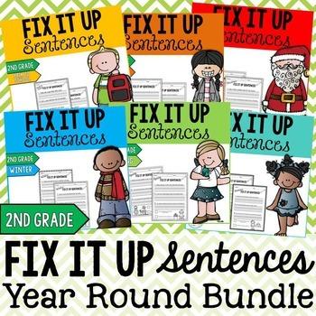 Year Round Editing Sentences Bundle: Second Grade, Capitalization, Punctuation