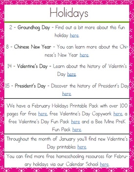 Year Round Homeschooling February 2016 Planning Pack