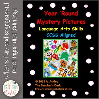 Year 'Round Mystery Pictures Word Work Skills Bundle