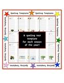 Spelling Test Templates - Holiday/Seasonal - 8 words + 2 bonus words