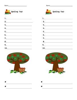 Spelling Test Templates - Holiday/Seasonal - 10 words + 2 bonus words