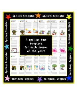 Spelling Test Templates - Holiday/Seasonal - 10 words + 2