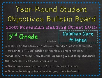 Year-Round Student Objectives Bulletin Board- Reading Street 2013, Grade 3