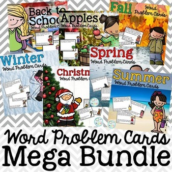 Year Round Word Problem Cards Bundle: Addition, Subtraction, Money, Fractions